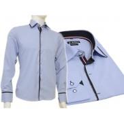 Niebieska koszula męska kryta plisa krój SLIM FIT czarne wykończenia