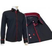 Granatowa koszula męska SLIM FIT kryta plisa czerwone wykończenia