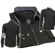 Elegancka koszula męska SLIM FIT w kropki czarna łaty