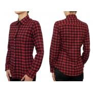 Flanelowa koszula damska SLIM czerwono-czarna krata