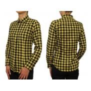 Flanelowa koszula damska SLIM żółto-czarna krata