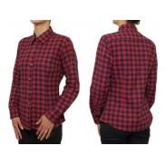 Flanelowa koszula damska SLIM czerwono-granatowa krata