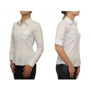 Elegancka koszula damska slim fit biała z kieszeniami