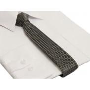 Waski śledź SLIM grafitowo-srebrny w białe kropki krawat śledzik 5 cm