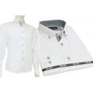 Koszula męska SLIM FIT biała z kołnierzykiem na guziki