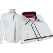 Koszula męska SLIM FIT biała z granatowymi odszyciami