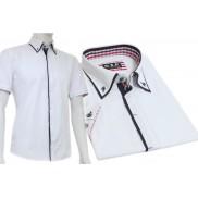 Koszula męska SLIM FIT button down z granatowymi wykończeniami