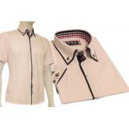 Koszula męska SLIM FIT button down różowa z granatowymi wykończeniami