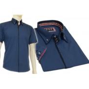 Koszula męska SLIM FIT button down ciemno niebieska z granatowymi wykończeniami