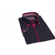 Koszula męska SLIM FIT button down granatowa z czerwonymi odszyciami