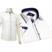 Koszula męska SLIM FIT biała z chabrowymi wykończeniami