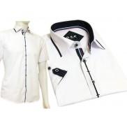 Koszula męska SLIM FIT biała z czarnymi odszyciami