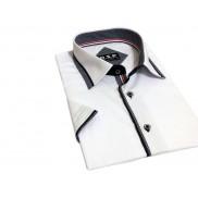 Koszula męska SLIM FIT biała z granatowymi wykończeniami