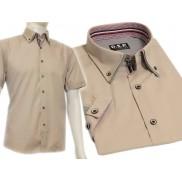 Koszula męska SLIM FIT beżowa BUTTON DOWN