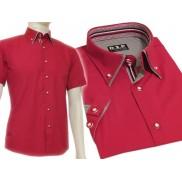 Koszula męska SLIM FIT czerwona BUTTON DOWN