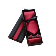 Komplet krawat poszetka i spinki czerwony