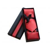 Komplet krawat poszetka i spinki jasno czerwony ostry