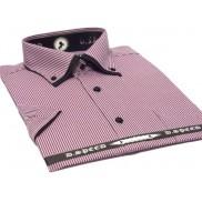 Koszula męska z podwójnym nakładanym kołnierzykiem fioletowa w czarne paski