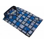 Flanelowa koszula męska w niebiesko-białą kratę