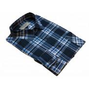 Flanelowa koszula męska w granatowo-niebieską kratę