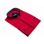 Elegancka koszula męska czerwona z granatowymi wykończeniami