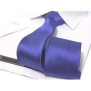 KRAWAT CHABROWY szafirowy klasyczny gładki 8 cm