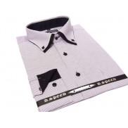 Elegancka koszula męska z podwójnym kołnierzykiem biało-brązowa drobny prążek