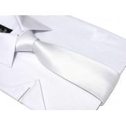 Krawat klasyczny BIAŁY gładki lekko błyszczący perłowy 8 cm