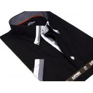 CZARNA Koszula Męska SLIM FIT Japan Style z krótkim rękawem i kolorowymi wykończeniami