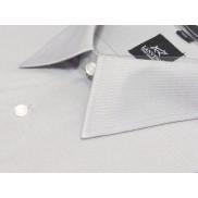 DUŻA koszula męska POPIELATA W TŁOCZONE PRĄŻKI z krótkim rękawem BAWEŁNA Lanvino