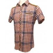 BAWEŁNIANA Koszula męska TALIOWANA w kolorową kratkę
