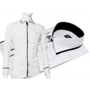 Biała koszula męska Japan Style TALIOWANA z czarnymi wykończeniami i kryta plisą