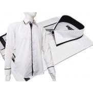 Elegancka biała koszula męska JAPAN STYLE z krytą plisą czarne wykończenia