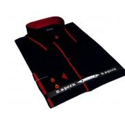 Ekskluzywna czarna koszula męska JAPAN STYLE z krytą plisą czerwone wykończenia