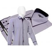 Elegancka jasnofioletowa koszula męska JAPAN STYLE z krytą plisą i kolorowymi wykończeniami