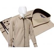 Elegancka beżowa koszula męska JAPAN STYLE z krytą plisą i kolorowymi wykończeniami