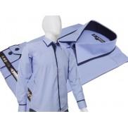 Elegancka niebieska koszula męska JAPAN STYLE z krytą plisą i kolorowymi wykończeniami