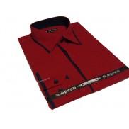 Ekskluzywna czerwona koszula męska JAPAN STYLE z krytą plisą i granatowymi wykończeniami