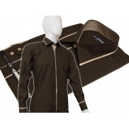 Elegancka brązowa koszula męska JAPAN STYLE z krytą plisą i beżowymi wykończeniami
