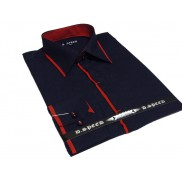 Ekskluzywna granatowa koszula męska JAPAN STYLE z krytą plisą i czerwonymi wykończeniami