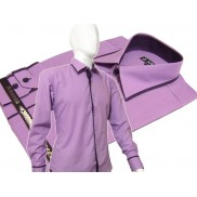 Elegancka wrzosowa koszula męska JAPAN STYLE z krytą plisą i fioletowymi wykończeniami