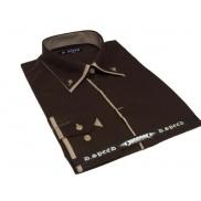 Elegancka brązowa koszula męska JAPAN STYLE z krytą plisą, beżowymi wykończeniami i podwójnym kołnierzykiem