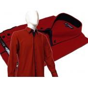 Czerwona ekskluzywna koszula męska JAPAN STYLE z krytą plisą, granatowymi wykończeniami i podwójnym kołnierzykiem