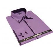 Elegancka wrzosowa koszula męska JAPAN STYLE z krytą plisą, podwójnym kołnierzykiem i fioletowymi wykończeniami