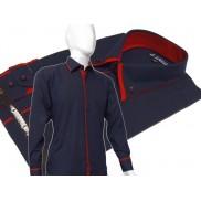 Elegancka granatowa koszula męska JAPAN STYLE z krytą plisą, podwójnym kołnierzykiem i czerwonymi wykończeniami