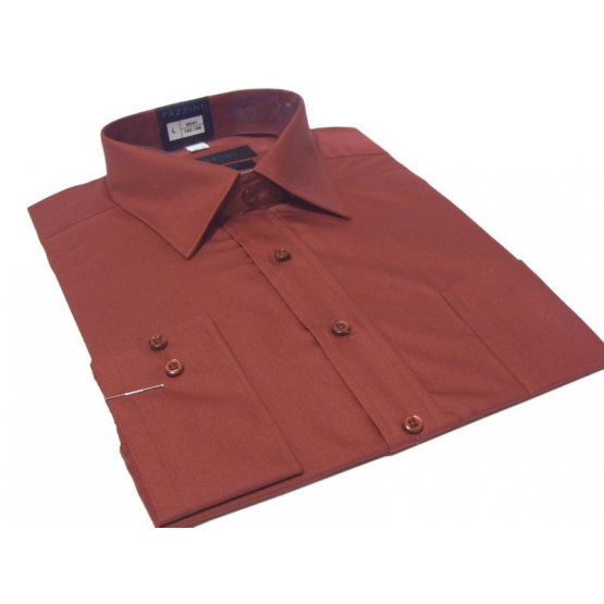 Koszula męska Slim-Fit CZERWONA gładka dlugi rękaw mankiet na spinki lub guzik.