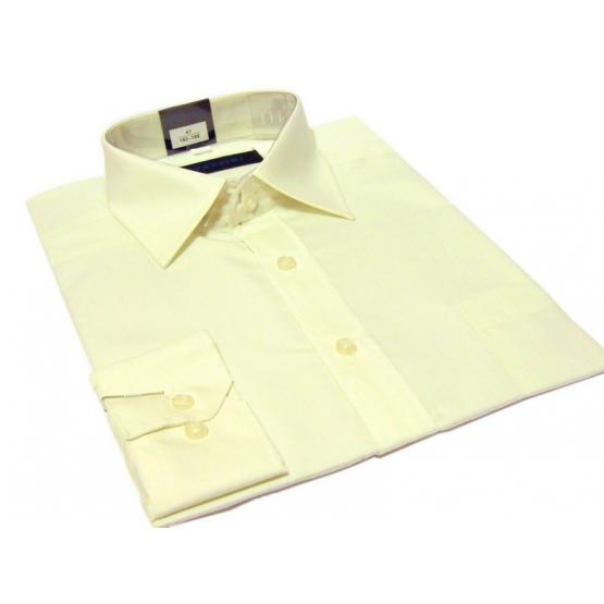Koszula męska ECRU-KREMOWA gładka klasyczna z mankietem na spinki lub guzik - Fazzini