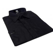 Koszula męska czarna gładka klasyczna z mankietem na spinki lub guzik Fazzini