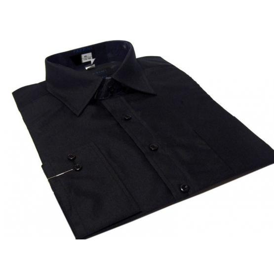 Koszula męska czarna gładka klasyczna z mankietem na spinki lub guzik - Fazzini