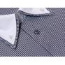 Elegancka koszula męska SLIM podwójny biały kołnierzyk POPIELATA W PASKI